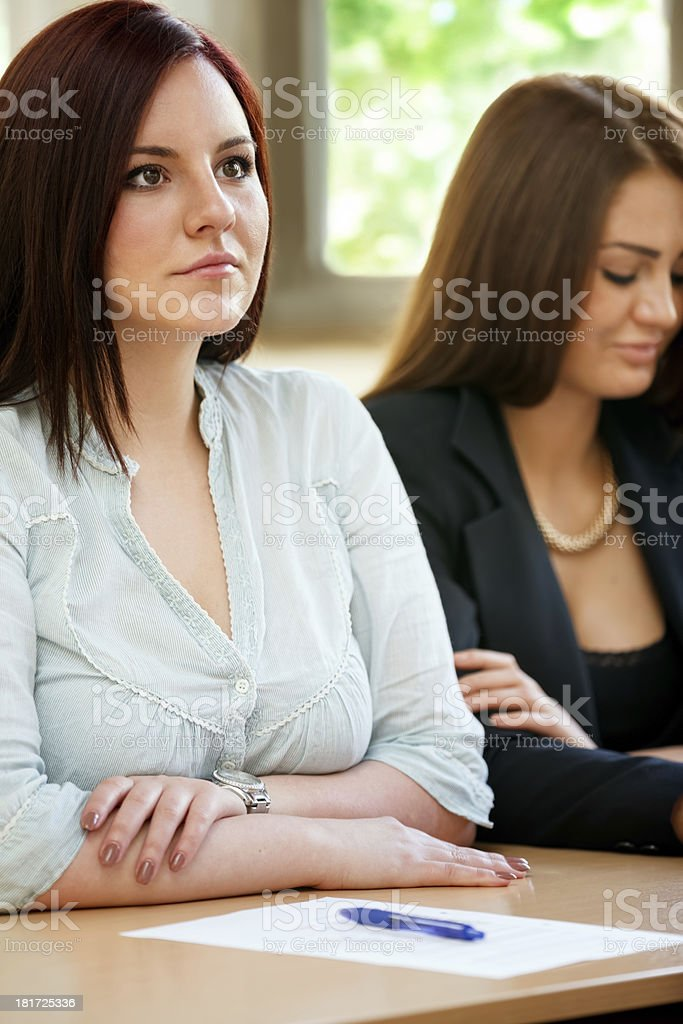 Concentrated student listening lecture royalty-free stock photo
