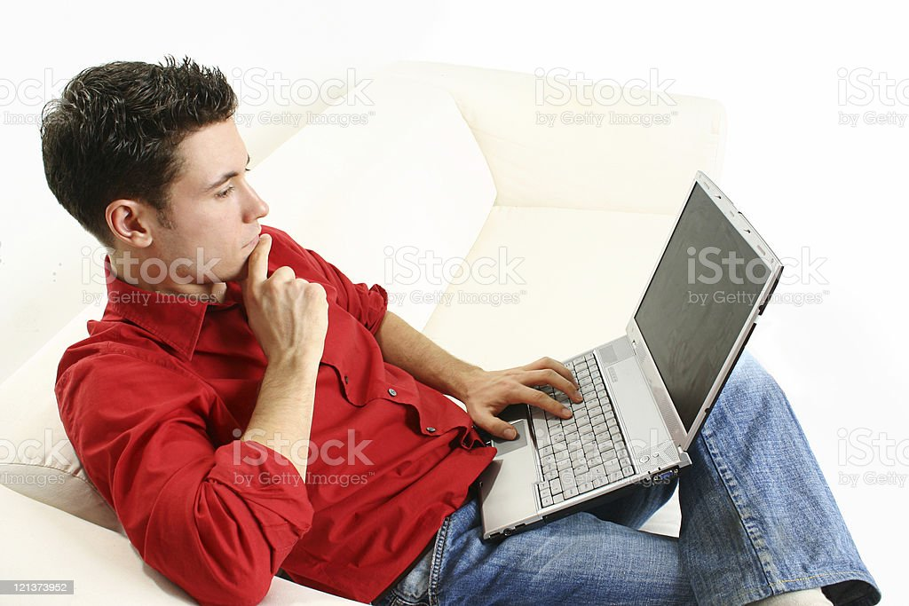 Concentrated young man royalty-free stock photo