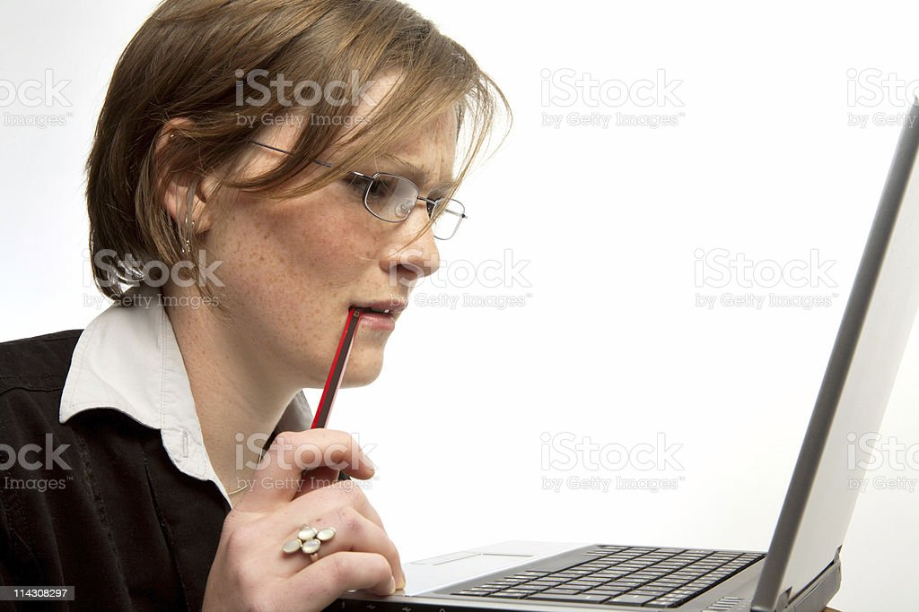 Concentrating hard royalty-free stock photo