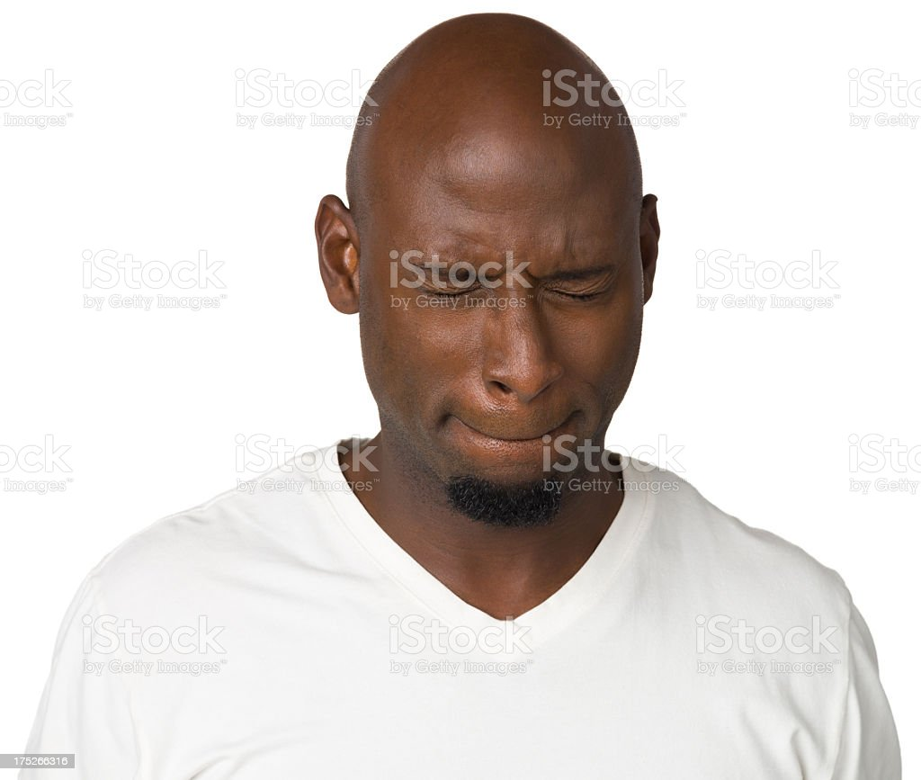 Concentrating Man With Eyes Closed royalty-free stock photo