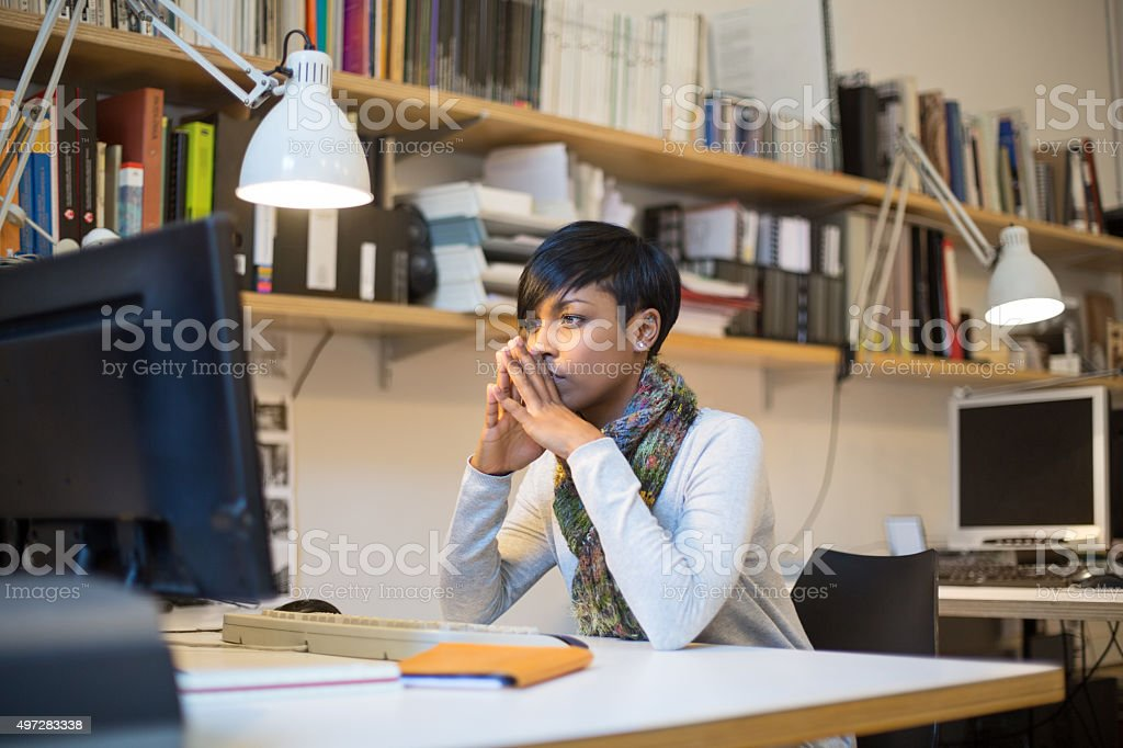 Concentrating on new business project stock photo