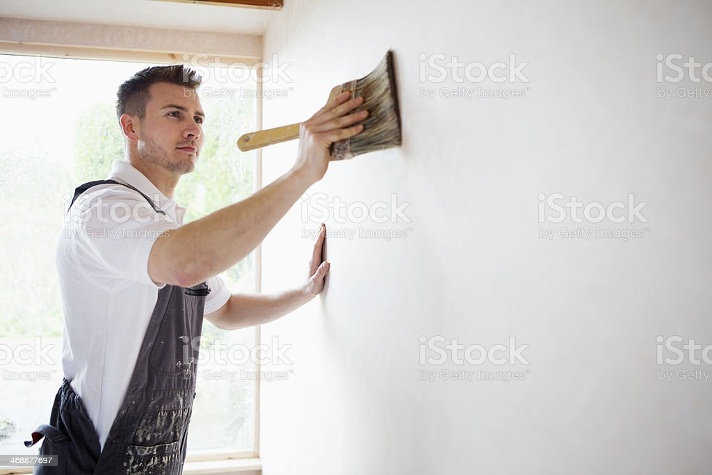 Concentrating while Decorating stock photo