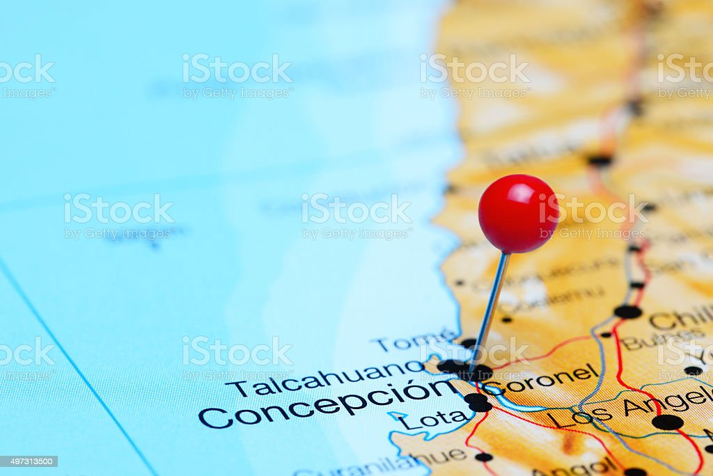 Concepcion pinned on a map of Chile stock photo