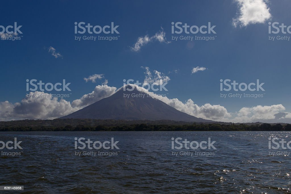 concepcion volcano photography from water. Ometepe island, Nicaragua stock photo