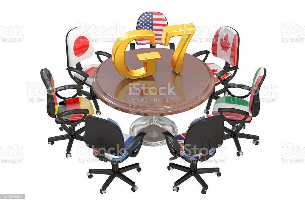 G7 concept, 3D rendering stock photo