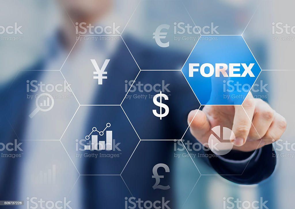 Concept about forex currency exchange with trader in the background stock photo