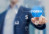 Concept about forex currency exchange with trader in the background