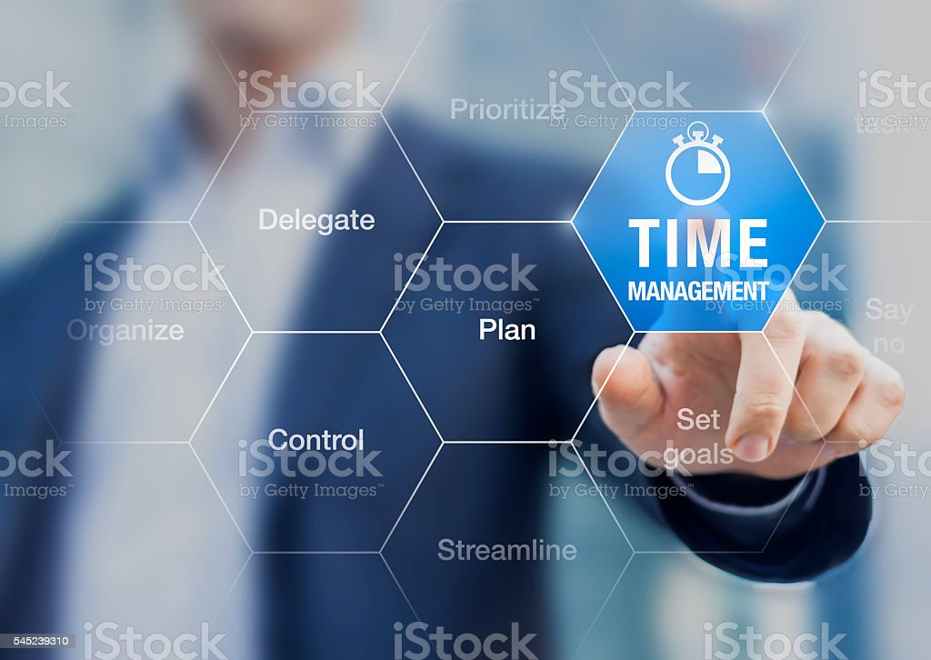 Concept about time management training in business to become successful stock photo