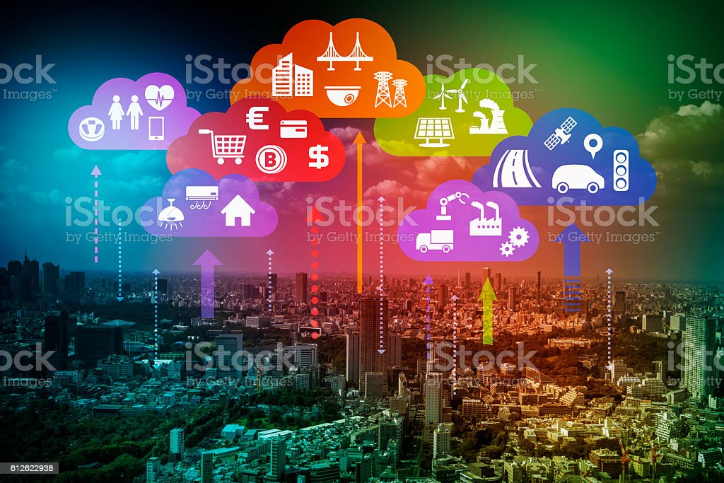 CPS (Cyber-Physical Systems) concept abstract image stock photo