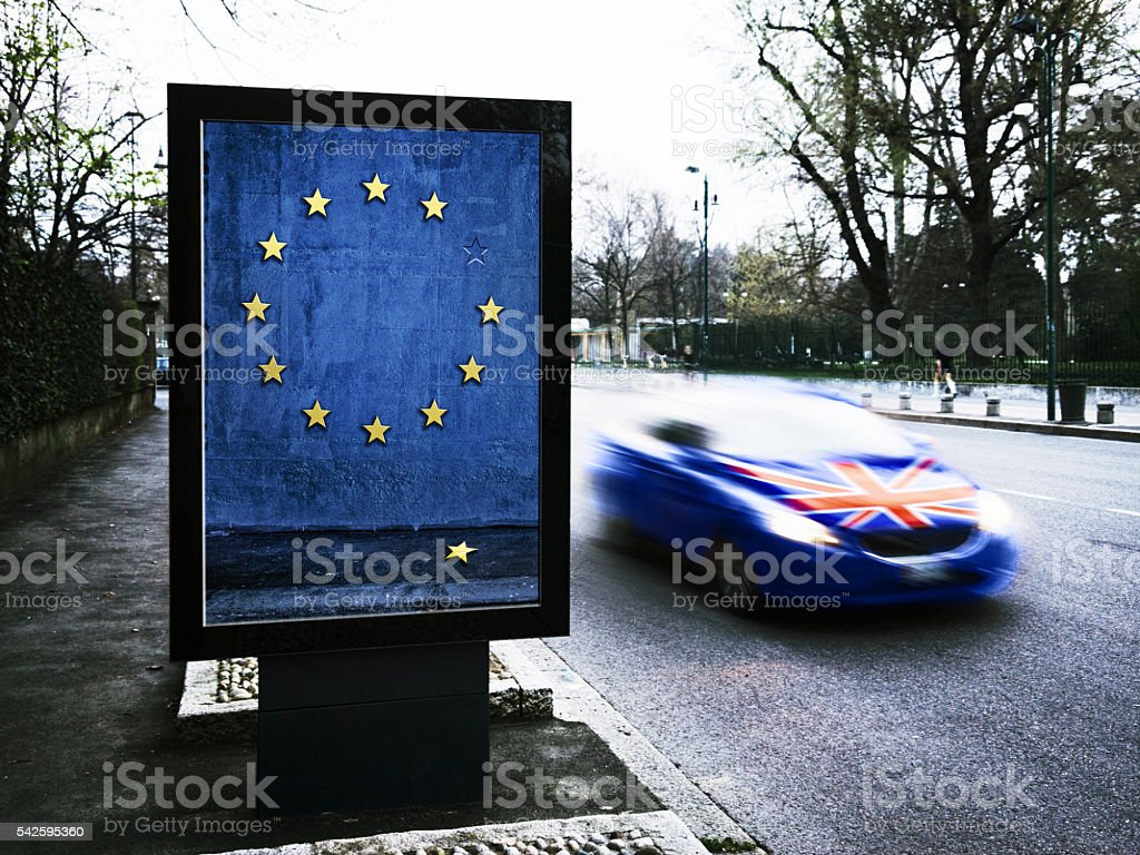Concept and symbol for the British exit from eurozone, Brexit stock photo
