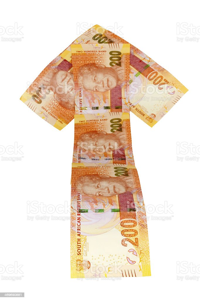 Concept Arrow Bank Notes Showing South African Rands Bumpy Ride stock photo