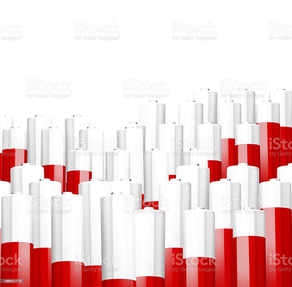 Concept background of batteries at red and white stock photo
