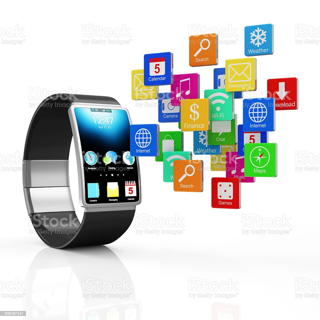 Concept. Black Smart Watch with Cloud of Application Icons stock photo