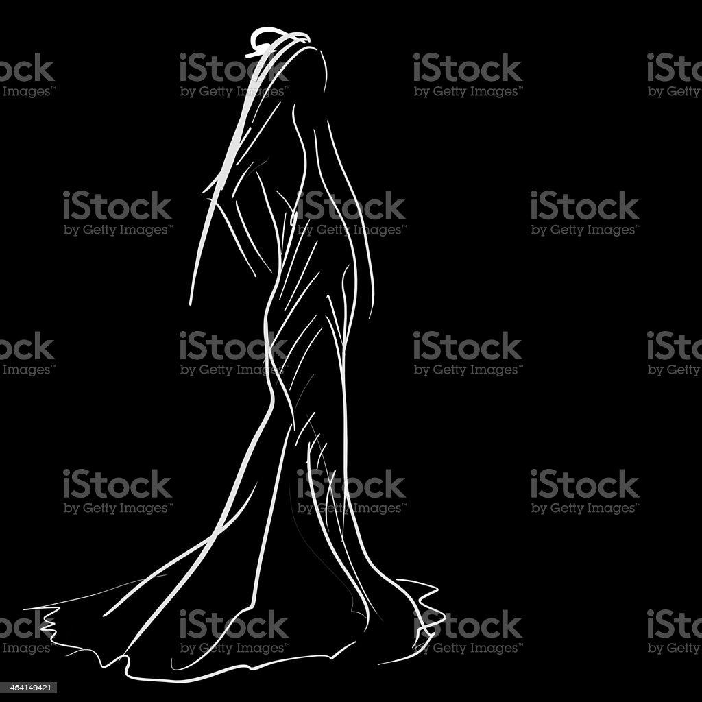 Concept bride women in wedding dress, fashion sketch royalty-free stock photo