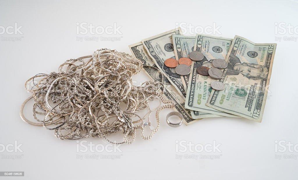 Concept Cash for Silver stock photo