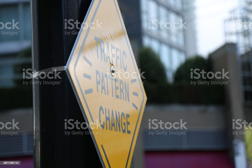 Concept change yellow road sign stock photo