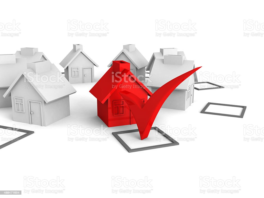 Concept Choice Of House With Check Box stock photo