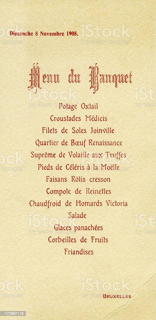 Concept: Classic Menu du Banquet royalty-free stock photo