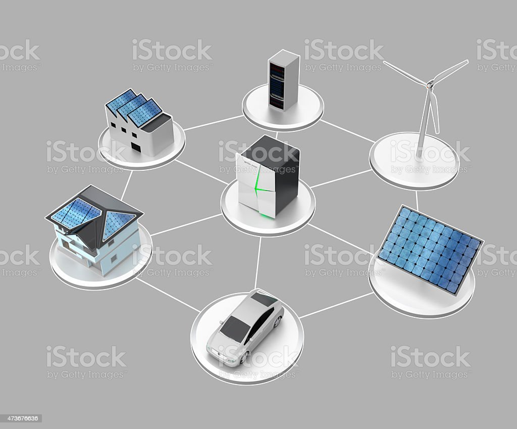 Concept design for stationary battery system ( With text description) stock photo