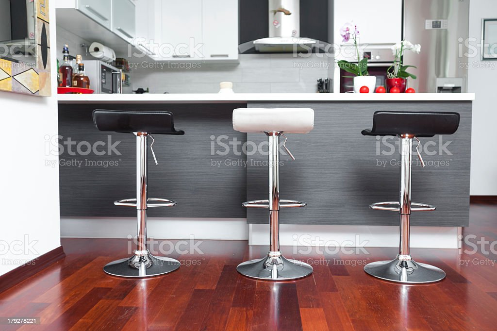 Concept drawing of a modern kitchen breakfast bar stock photo