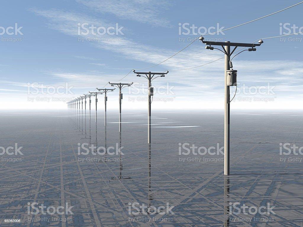 Conceito de energia eléctrica e céu azul linhas foto de stock royalty-free