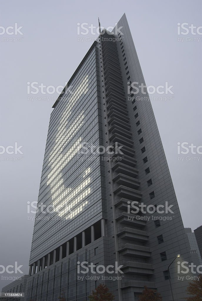 Concept Euro (powerful lit windows ) stock photo