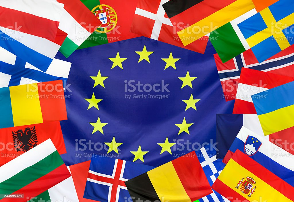 Concept  Europeen Flag and Countries without UK stock photo