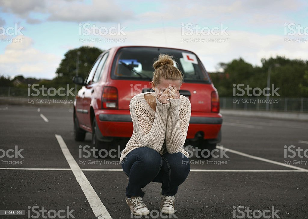 concept 'fear from driving test' stock photo