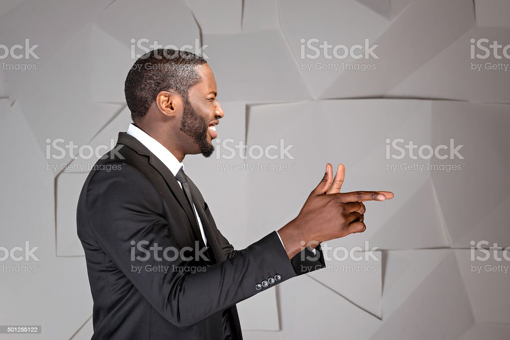 Concept for afro american businessman stock photo
