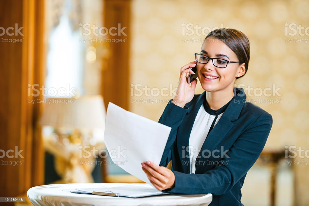Concept for businesswoman in expensive hotel stock photo