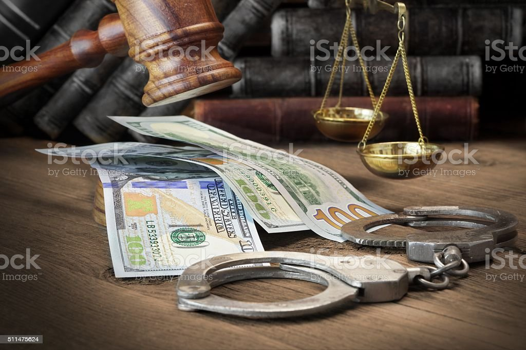 Concept For Corruption, Bankruptcy Court, Bail, Crime, Bribing, stock photo