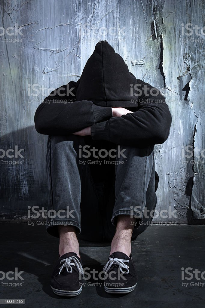 Concept for drug addiction and despair stock photo