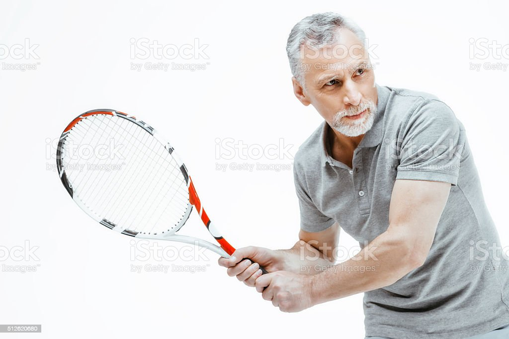 Concept for elder sportsman on white background stock photo