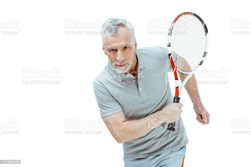 Concept for elder sportsman on white background stock photo