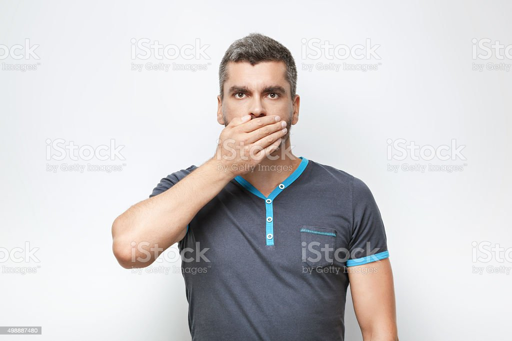 Concept for emotional man with beard stock photo