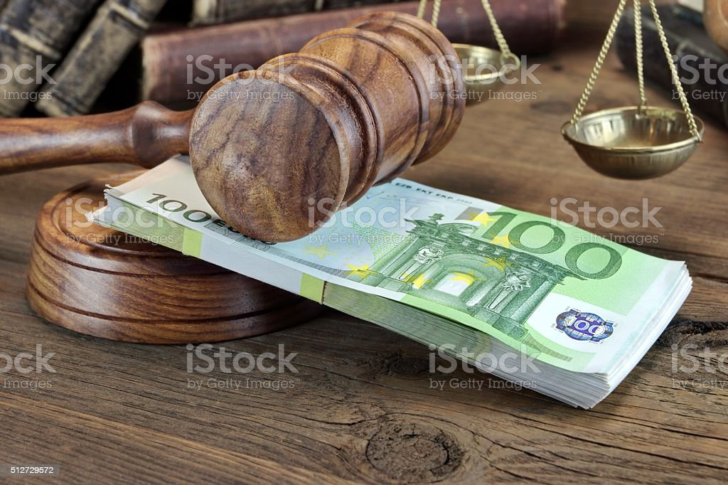 Concept For Law, Corruption, Bankruptcy, Bail, Bribe, Crime Or F stock photo