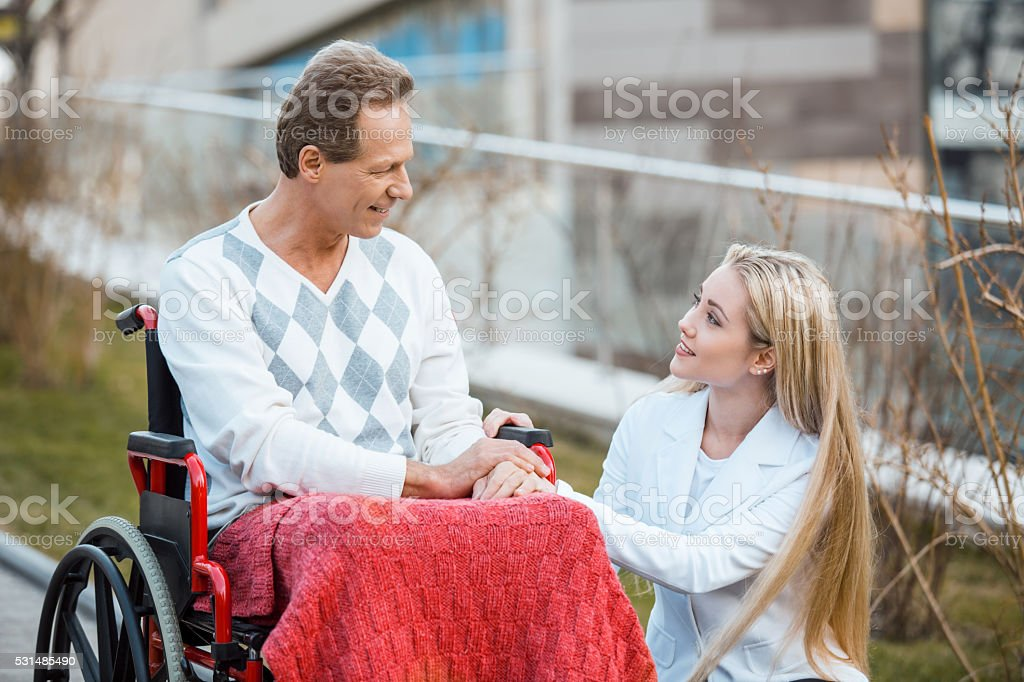 Concept for man on wheelchair stock photo