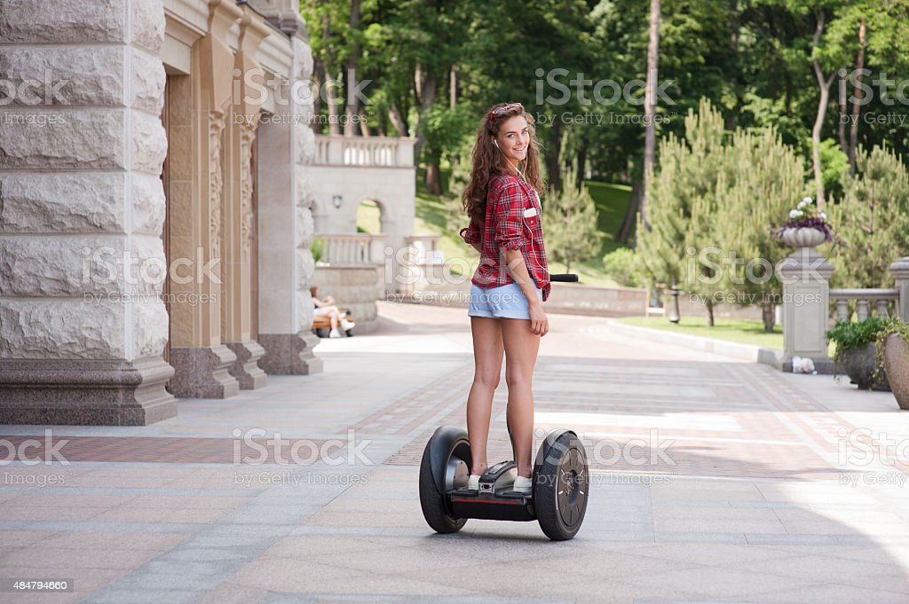 Concept for nice girl using segway stock photo