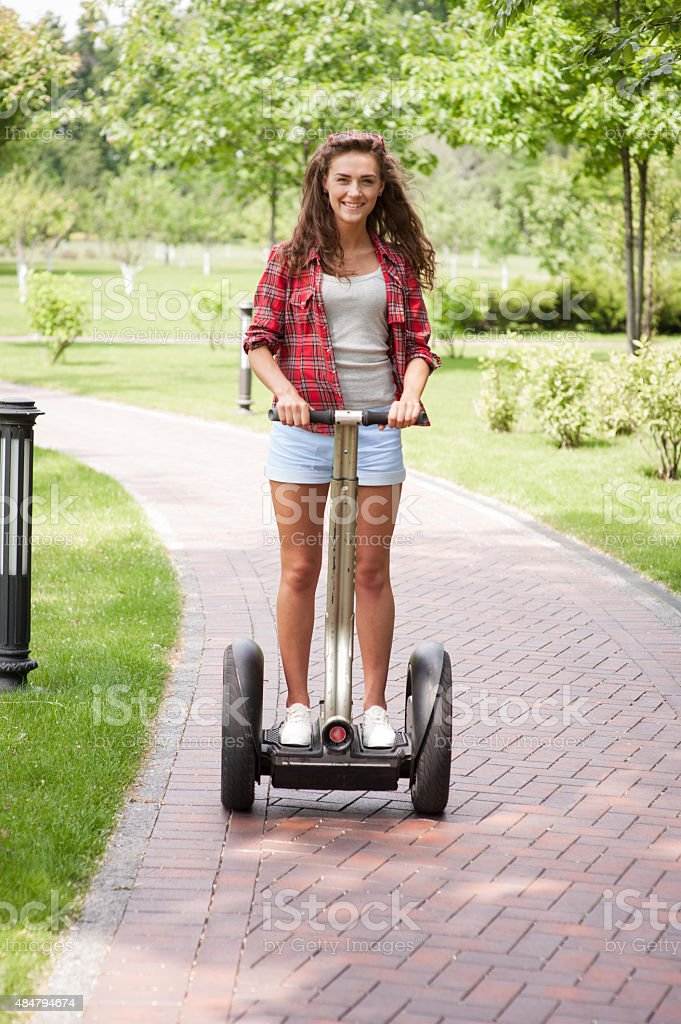 Concept for nice girl using segway stock photo