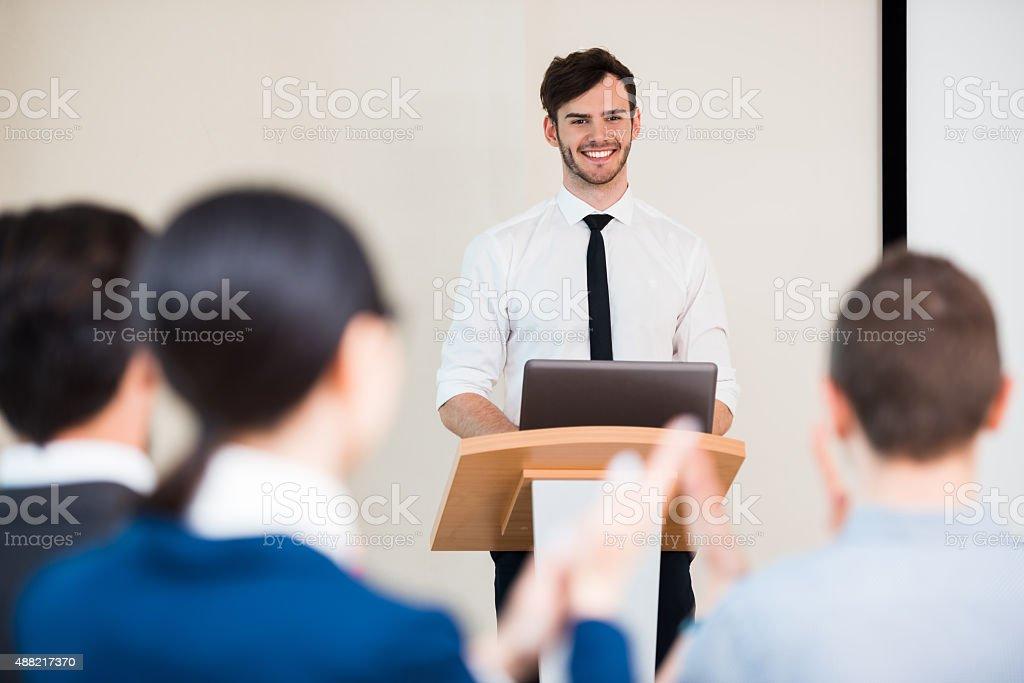 Concept for presentation on seminar stock photo