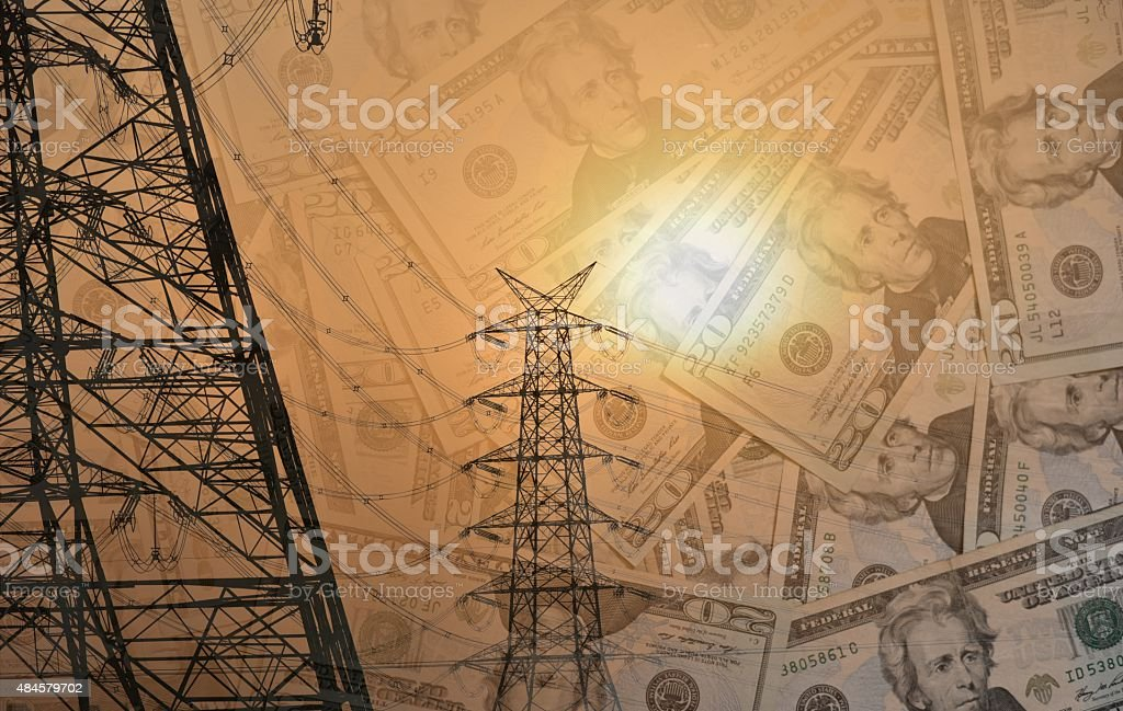 Concept for spend on electricity stock photo