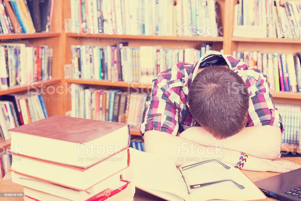 Concept for teenagers in library stock photo