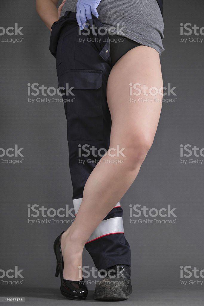 Concept for women in craft - two different legs. stock photo