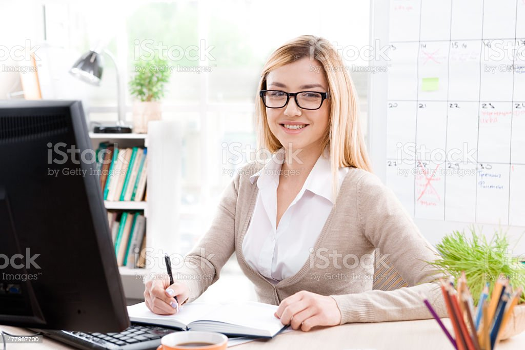 Concept for young businesswoman in office stock photo