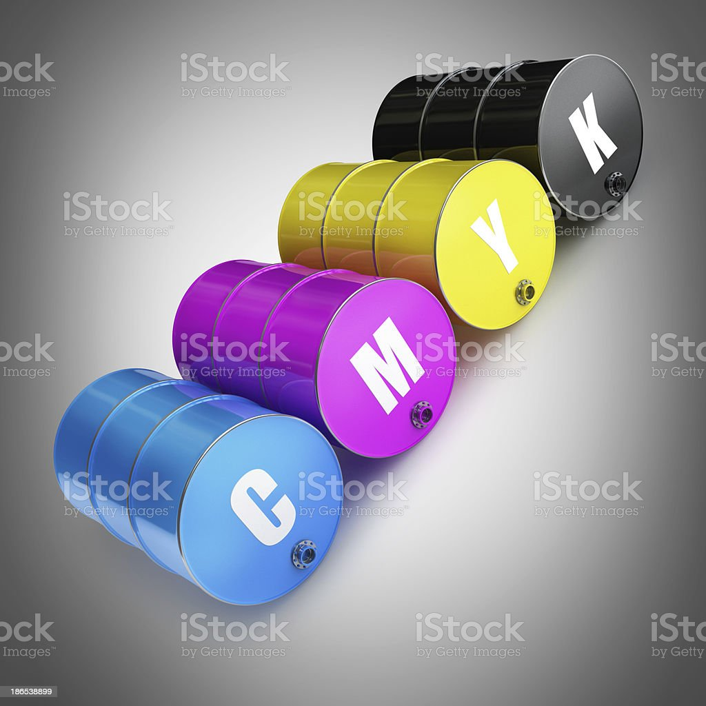 CMYK Concept FUEL barrels royalty-free stock photo