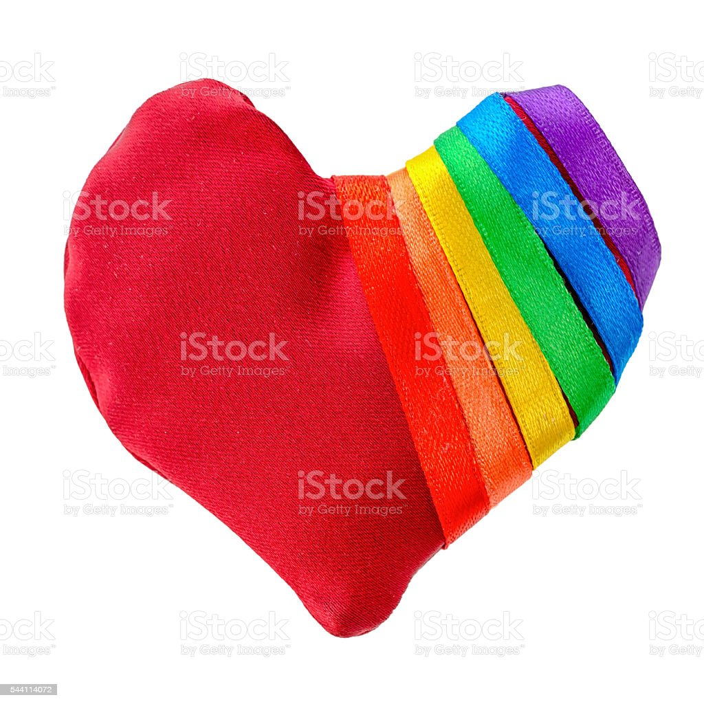 concept gay culture symbol with manually stitched red heart shap stock photo