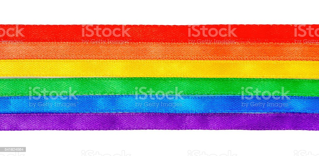 concept gay culture symbol with rainbow ribbons flag, sign LGBT stock photo