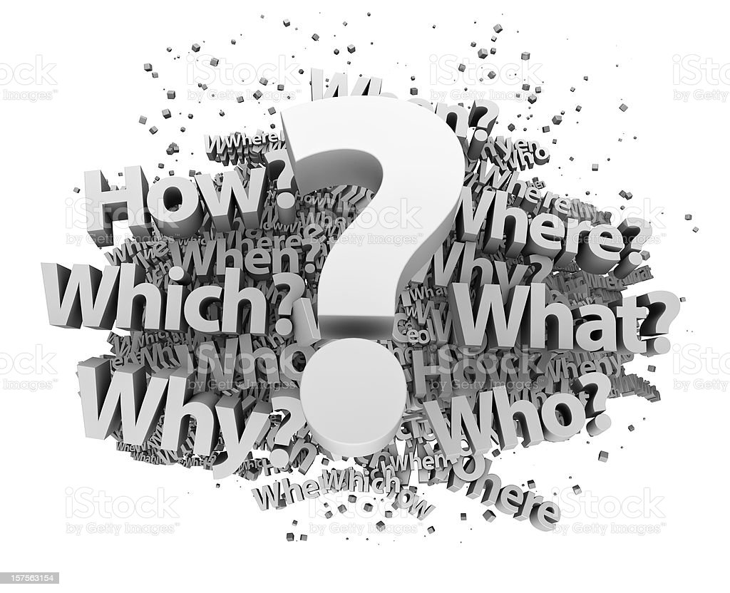 Concept graphic design of questions with a question mark stock photo