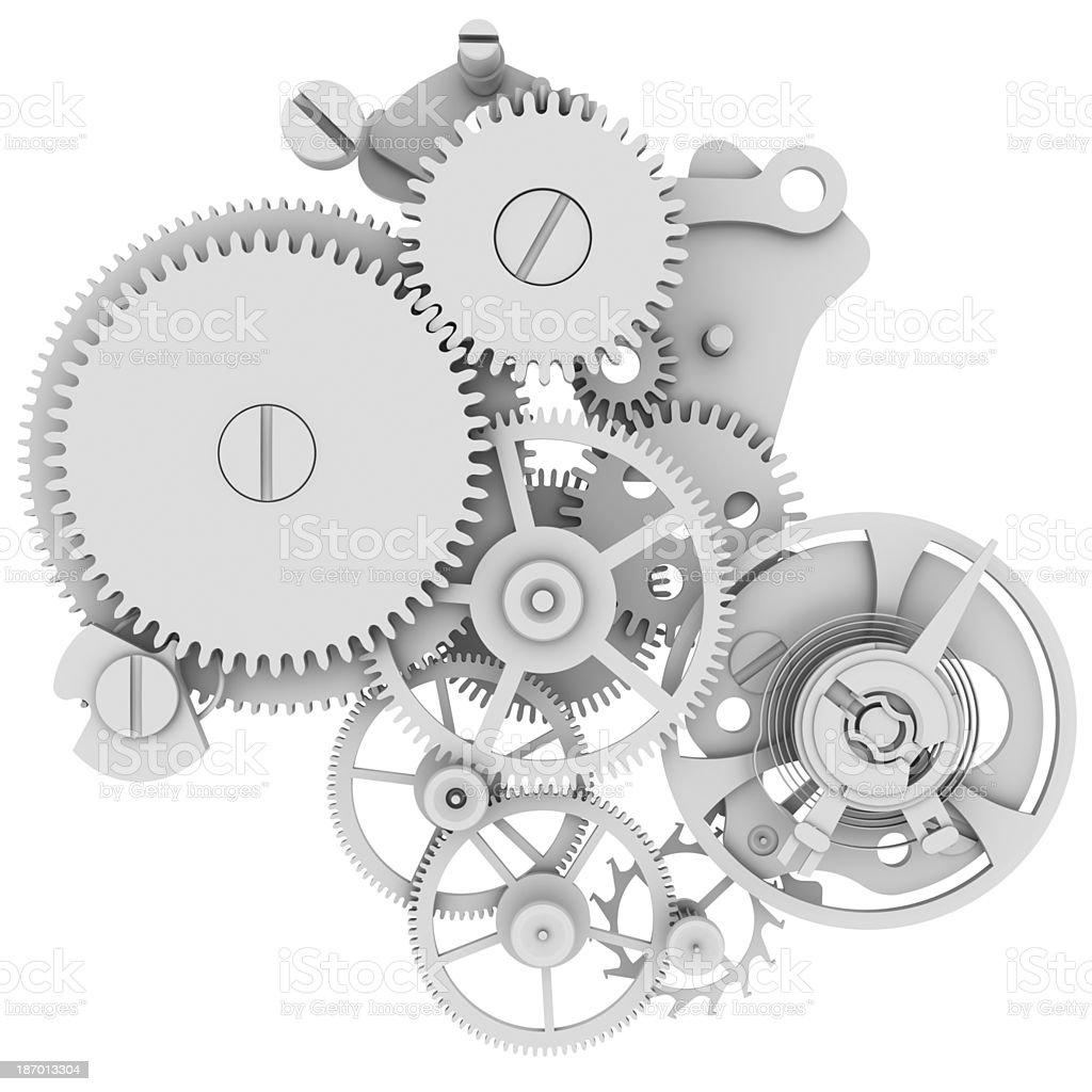 Concept gray illustration of a watch mechanism stock photo