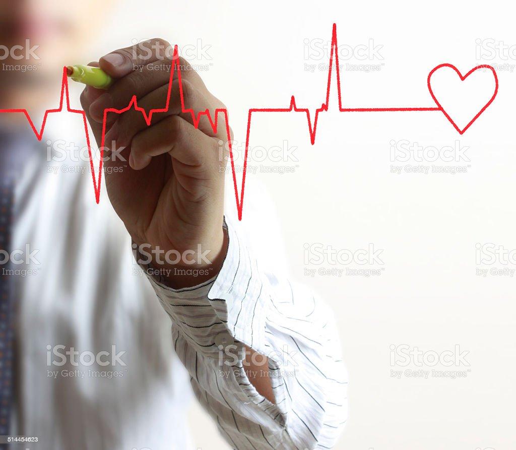 Concept hand drawn heart stock photo